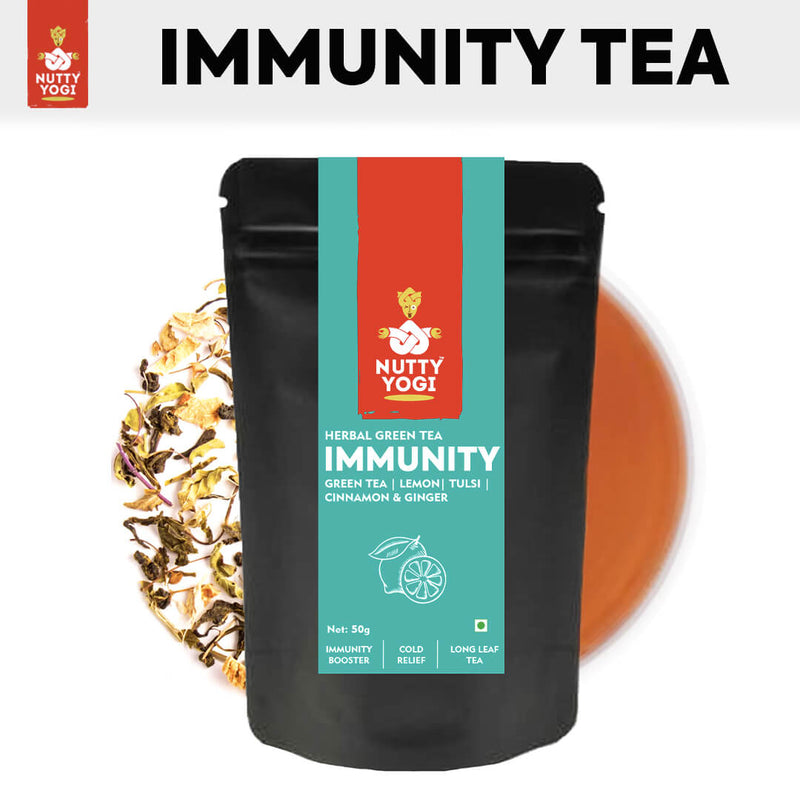Nutty Yogi Immunity Tea | Herbal Green Tea with Tulsi, Lemon, Cinnamon & Ginger I Ayurvedic Blend I 50g.
