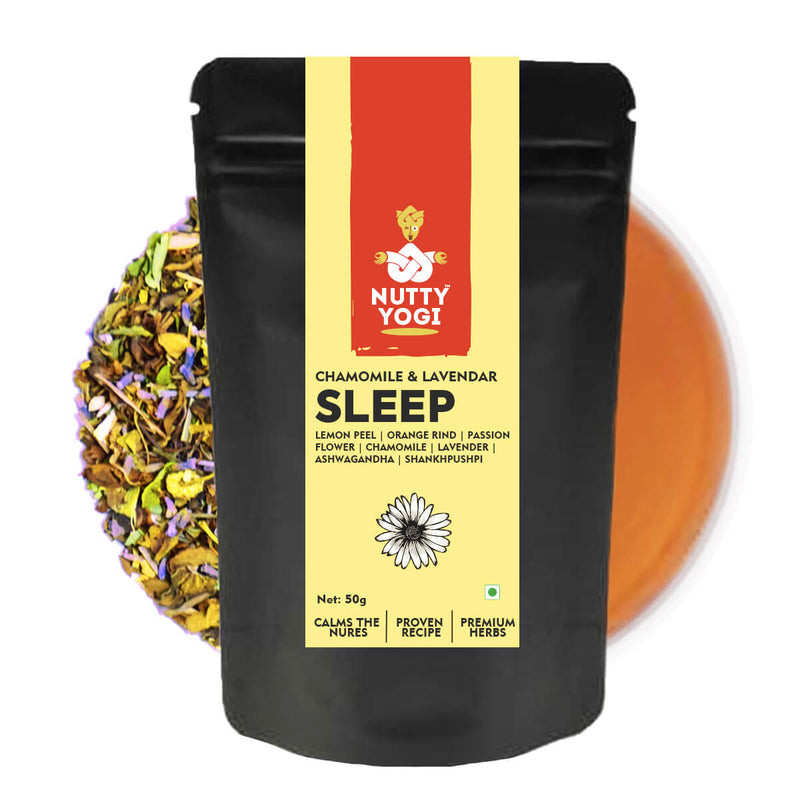 Nutty Yogi Sleep Tea - Green Tea Blend with Chamomile, Lavender, Ashwagandha - 50g.