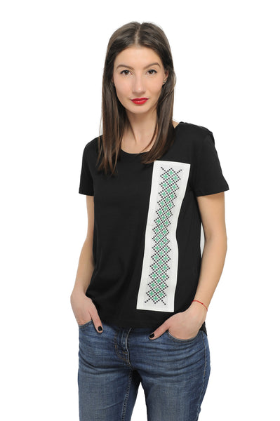 Tricou motiv traditional verde