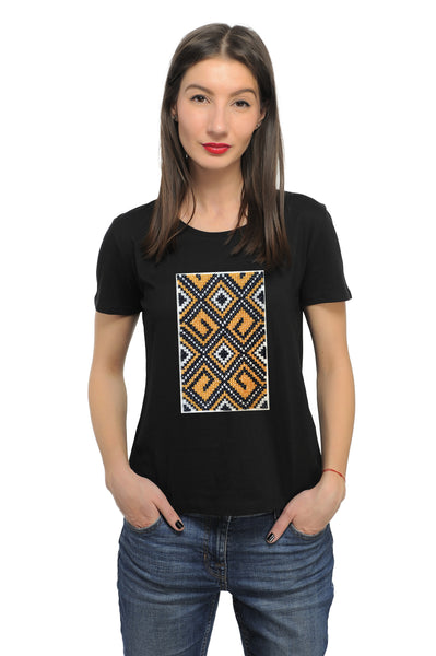 Tricou motiv traditional romb