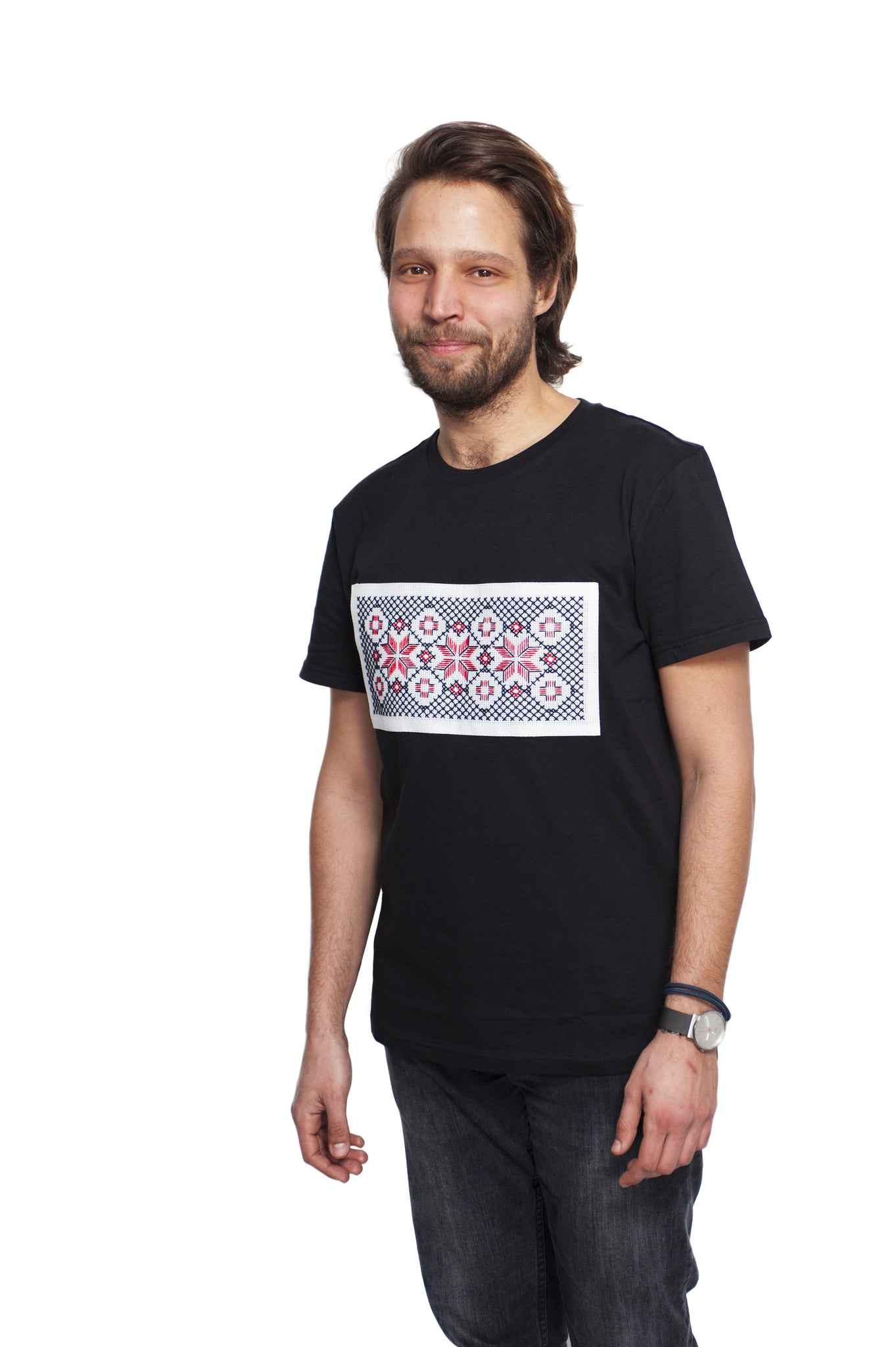 Tricou motiv traditional steaua in 8 colturi