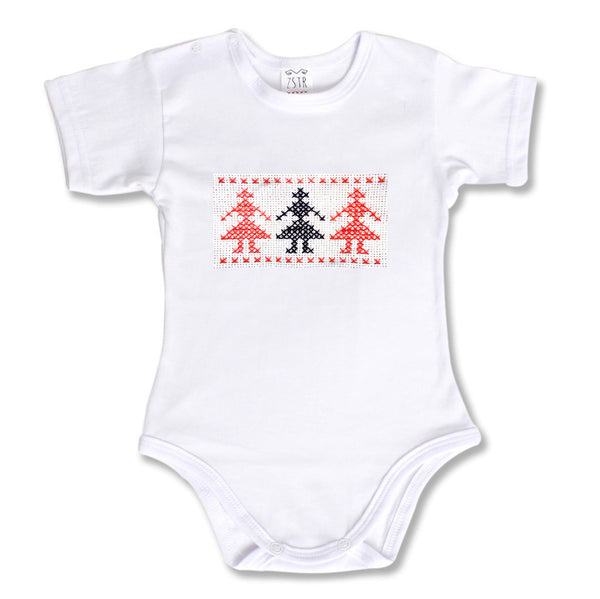 Body bebe maneca scurta motiv traditional hora