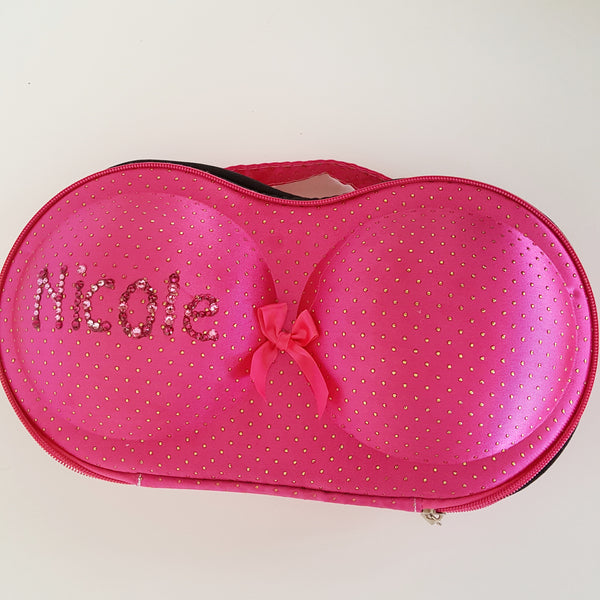 PERSONALIZED Protective Bra Case-Pink w/ Gold Dots