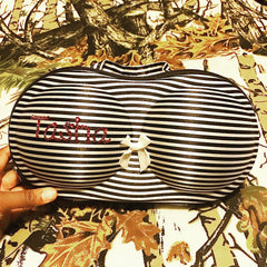 PERSONALIZED Protective Bra Case-Black & White Stripes