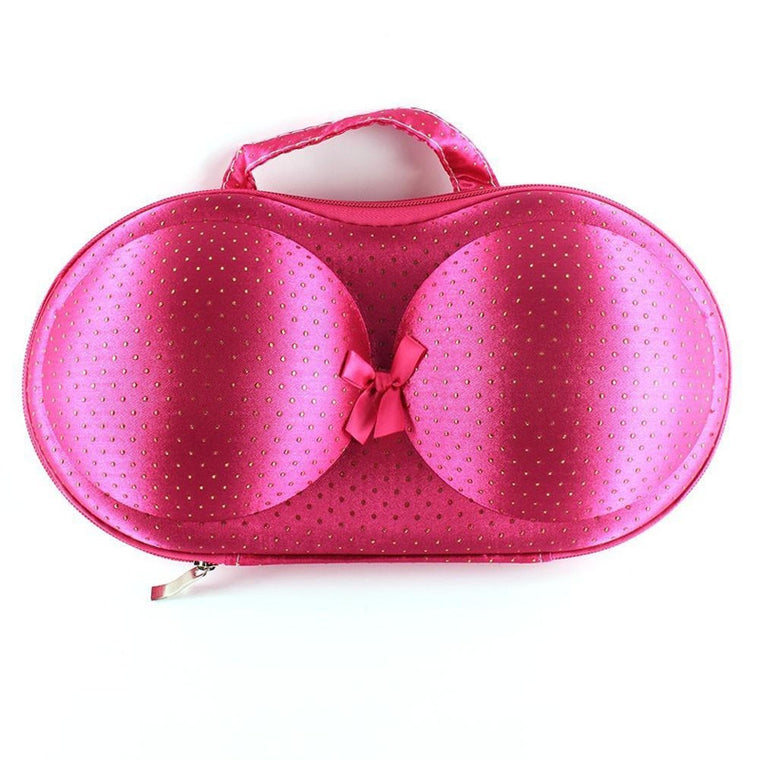 Protective Bra Case-Pink w/ Gold Dots