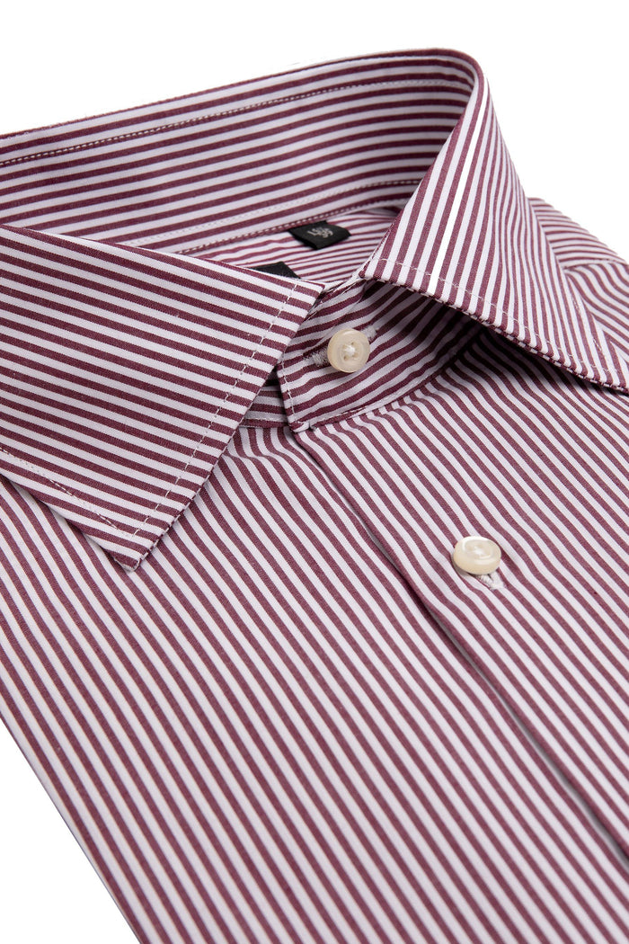 Camicia a righe bordeaux slim