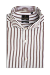 Camicia twill a righe marrone slim