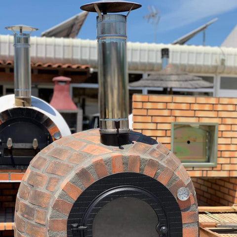Traditional Wood Fired Brick Pizza Oven Stainless Steel - Chimney & Cap