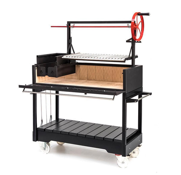 Argentinian Grill - Matte Black with cart