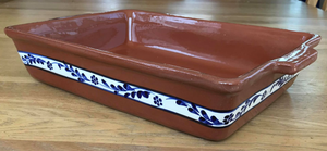 Clay Traditional Baking Tray Large - Hand painted Floral Blue