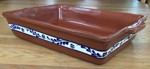 Clay Traditional Baking Tray Large - Handpainted Floral Blue