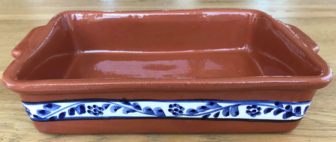 Clay Traditional Baking Tray Small - Hand painted Floral Blue