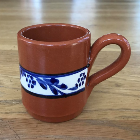 Clay Hand Painted 4oz Small Mug - Floral Blue