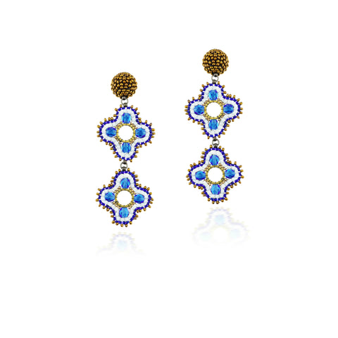 Quora Earrings  Sky blue and Bronze