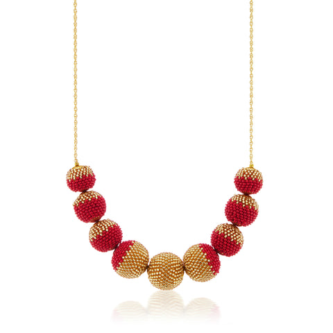 Gold Dusted  Globe Necklace Red and Gold