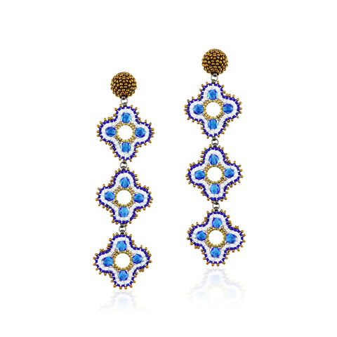 Quora Earrings Blue and Bronze