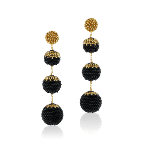 Gumball Earrings Black and Gold