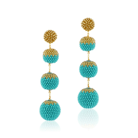 Gumball Earrings Turquoise Blue and Gold
