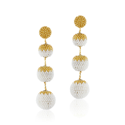 Gumball Earrings White and Gold