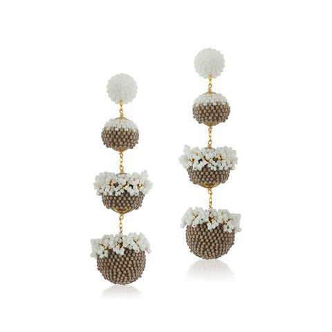 Floral Gumball Earrings - White