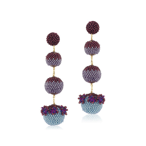 Floral Gumball Earrings - Lilac