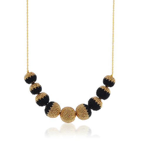 Gold Dusted Globe Necklace Black and Gold