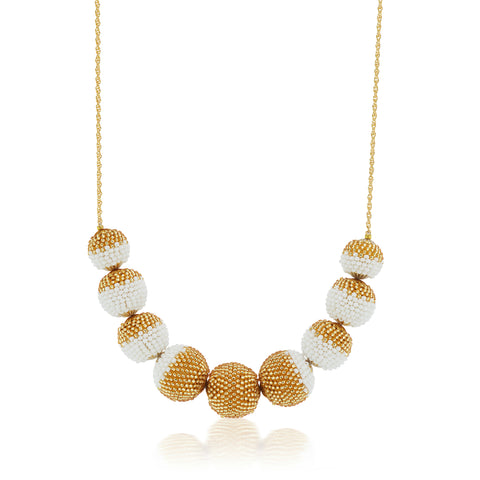 Gold Dusted  Globe Necklace White and Gold