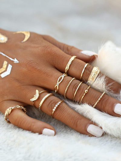 Gold Plated Embellished Ring Set - Hipimi