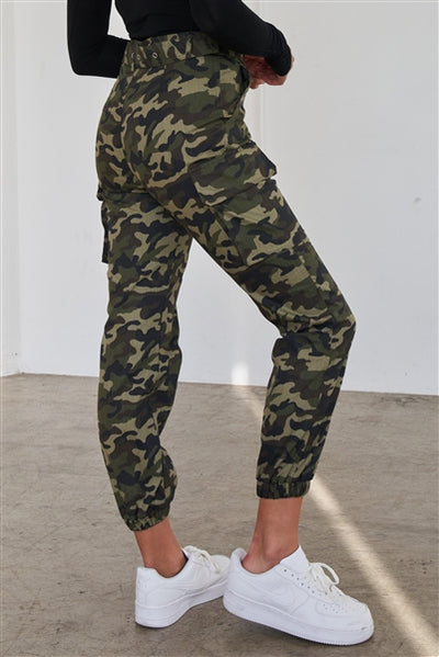 Olive Camouflage Belted High Waist Cargo Jogger Pants - Hipimi
