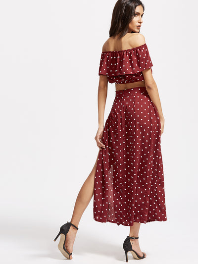 Polka Dot Ruffle Crop Top With Split Skirt - Hipimi