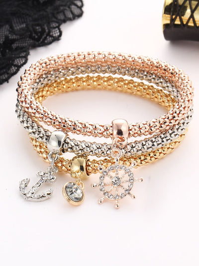 Anchor And Rhinestone Charm Bracelet Set - Hipimi
