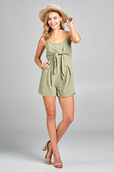 Women's Front Tie Tank Romper with Open back - Hipimi