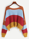 Color Block Raw Hem Sweater - Hipimi