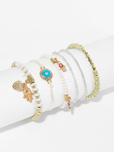 HAMSA Hand & BOHO Beaded Bracelet Set 6pcs - Hipimi