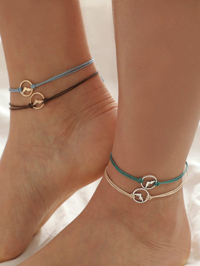 Mountain Detail Circle Bracelet Set 4pcs - Hipimi