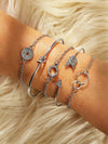 SILVER Rhinestone Arrow & Circle Bracelet Set 5pcs - Hipimi