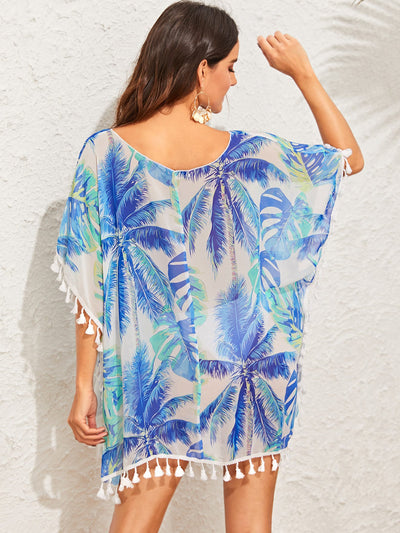 Jungle Leaf Print Tassel Trim Cover Up - Hipimi