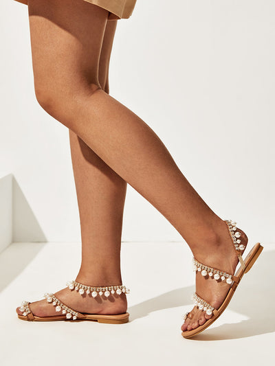 Faux Pearl Strappy Sandals - Hipimi