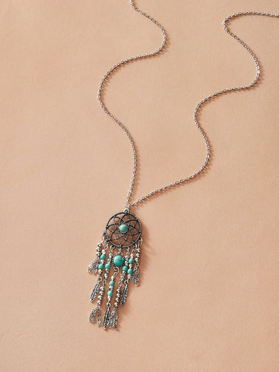 Turquoise Engraved Dream catcher Necklace - Hipimi