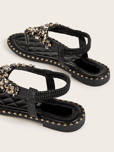 Sequin & Rhinestone Detail Toe Post Sandals - Hipimi