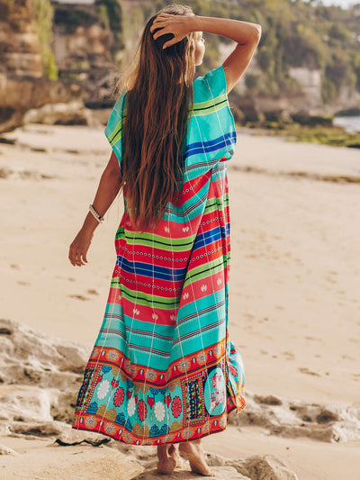 Tribal Print Colorblock Split Thigh Cover Up - Hipimi