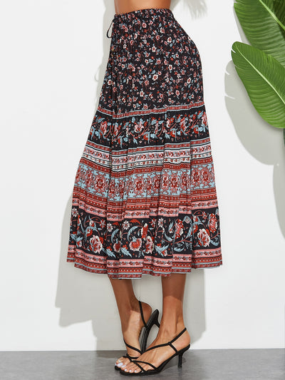 Floral & Tribal Print Drawstring Skirt - Hipimi
