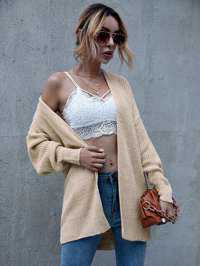Solid Open Front Drop Shoulder Cardigan - Hipimi