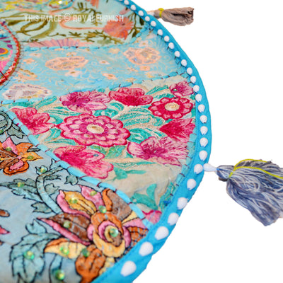 Artisan made Decorative Patchwork Round Floor Cushion Pillow Cover Boho Meditation Floor Cushion Cover - Hipimi