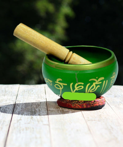 Green Third Eye Chakra Singing Bowl Set with Striker and Cushion 4.5 Inch - Hipimi