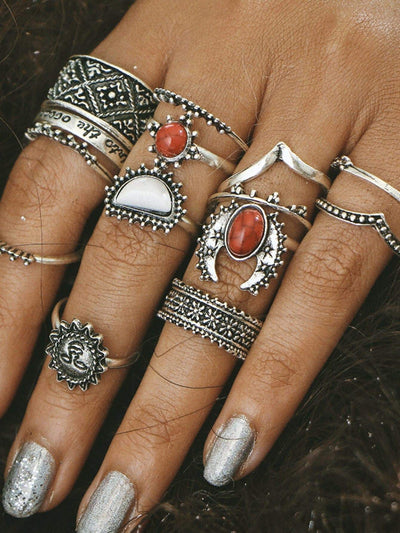 Vintage Red And White Turquoise Stone Ring Set - Hipimi