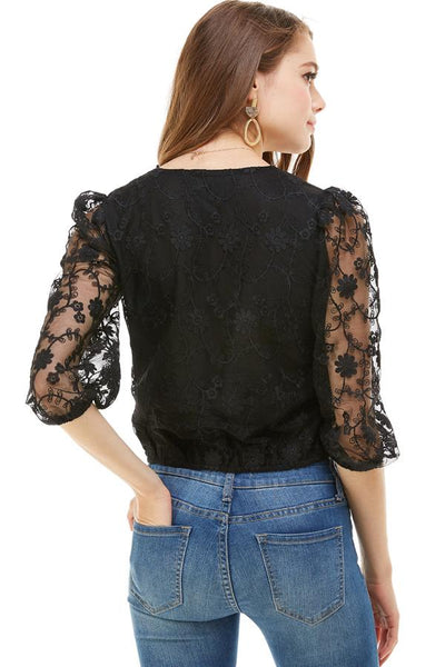 Embroidered Button Down Puff Long Sleeve Blouse - Hipimi