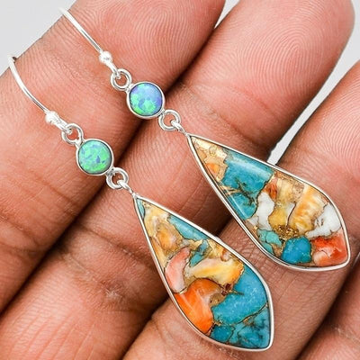 Turquoise Sterling Silver Colorful Earrings - Hipimi