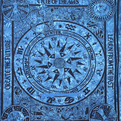 Big Blue Cycle Of Ages Tie Dye Wall Tapestry - Hipimi