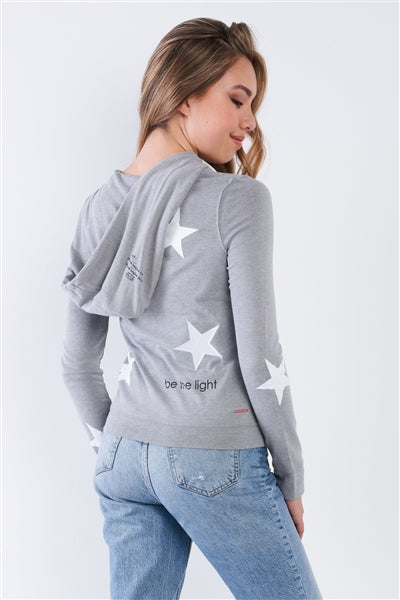 "Heather Grey Long Sleeve Star ""Be The Light"" Zip Up Hoodie - Hipimi"